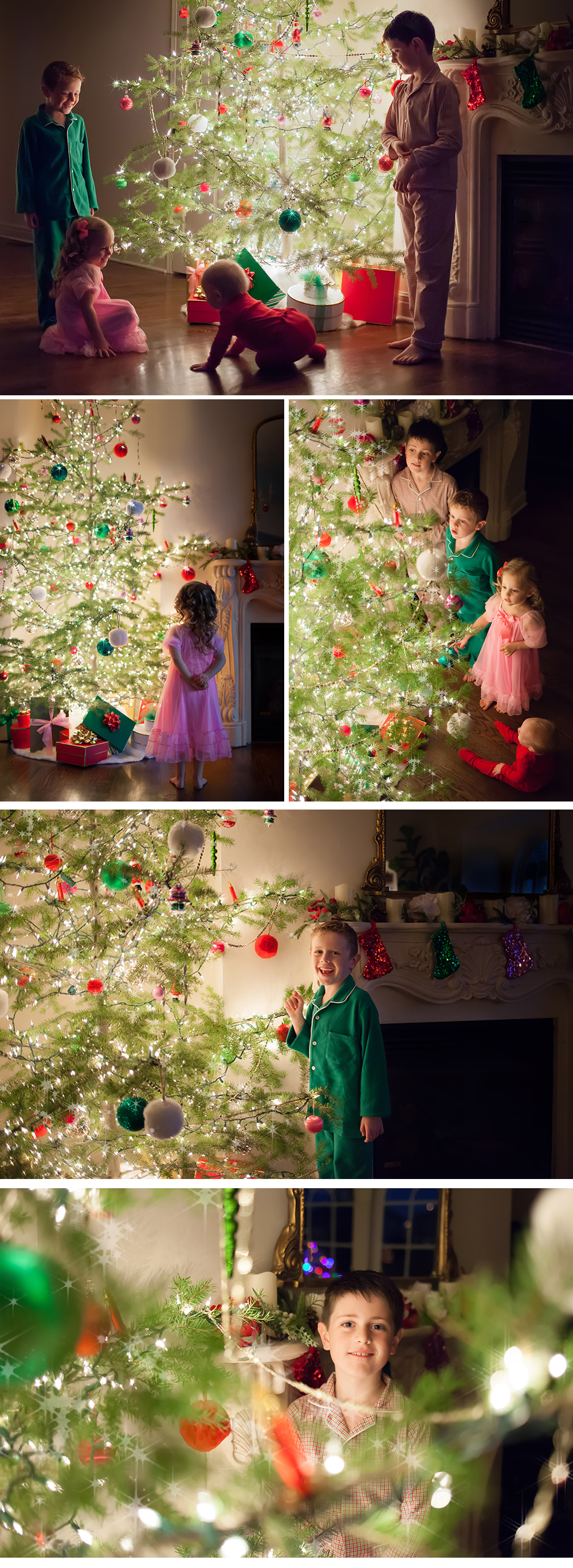 kids around the christmas tree photography