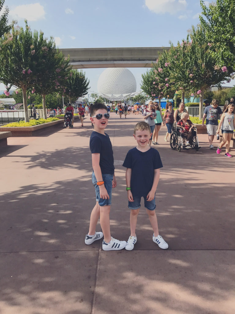 The boys acting goofy at EPCOT