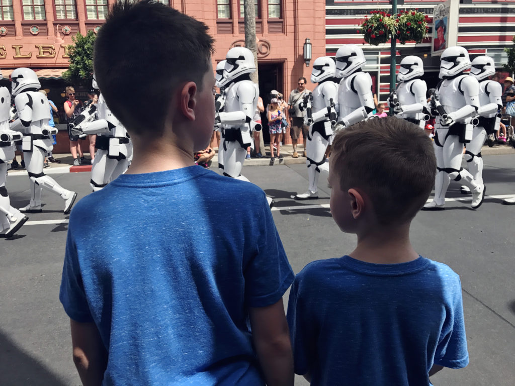 Boys watching March of the First Order