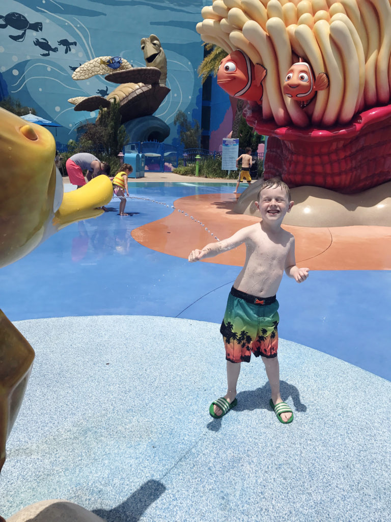 seahorse at the Nemo pool splash pad at the Art of Animation Resort
