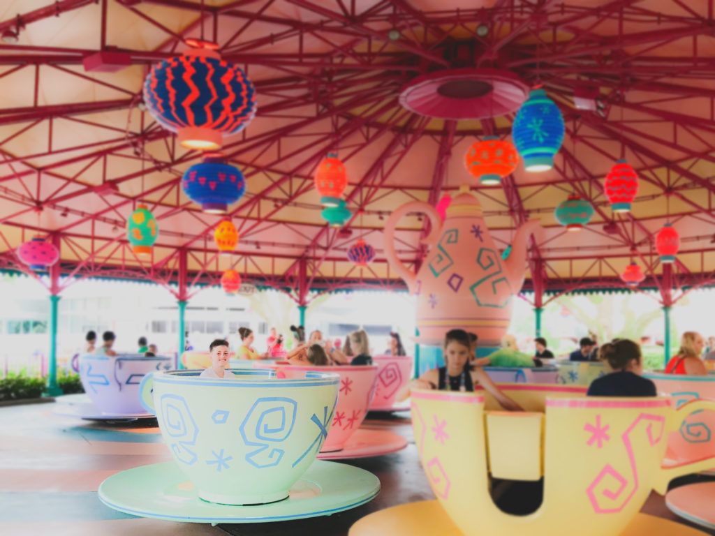 riding the teacups at walt disney world
