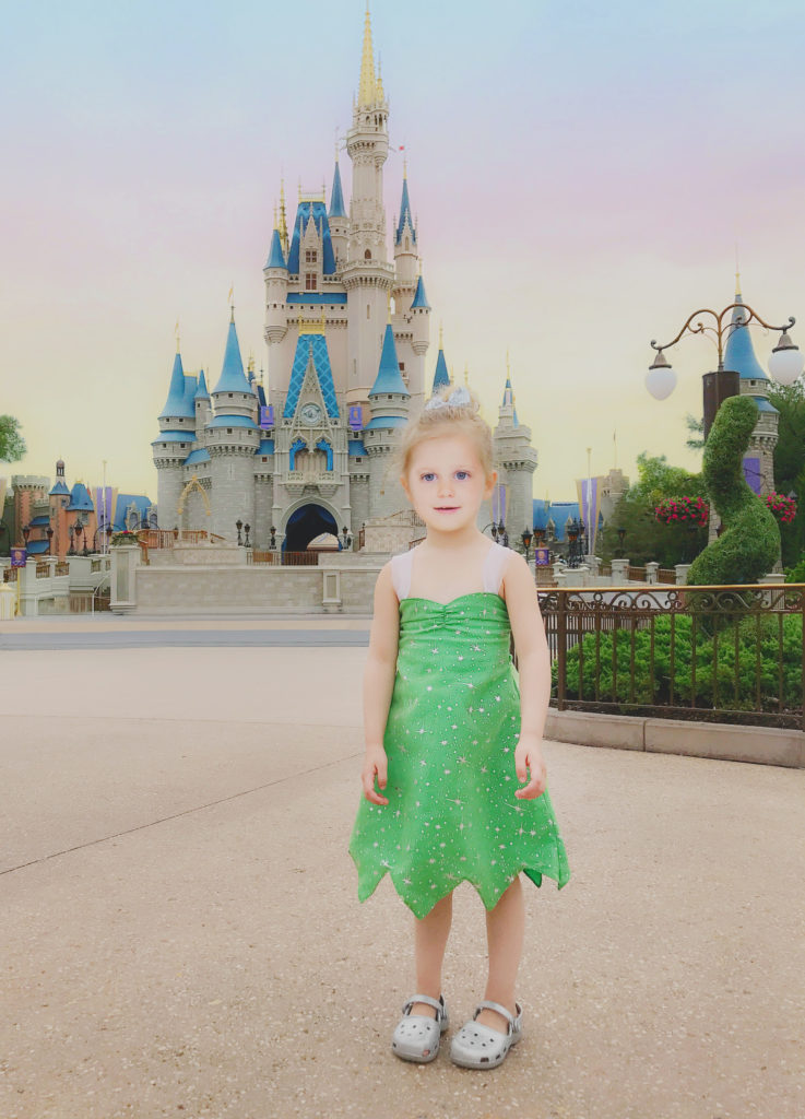 Tinkerbell in front of Cinderella's Castle at Magic Kingdom