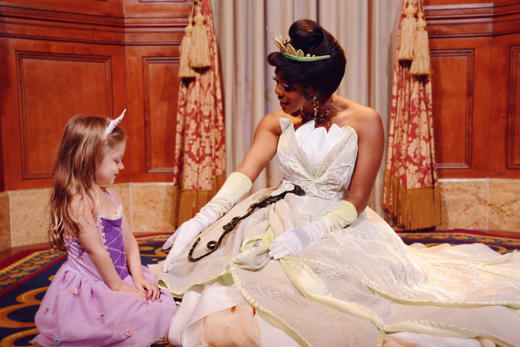Meeting Tiana at Disney World Magic Kingdom