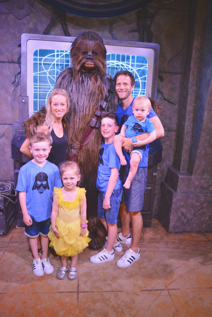 Family picture with Chewbacca at Hollywood Studios