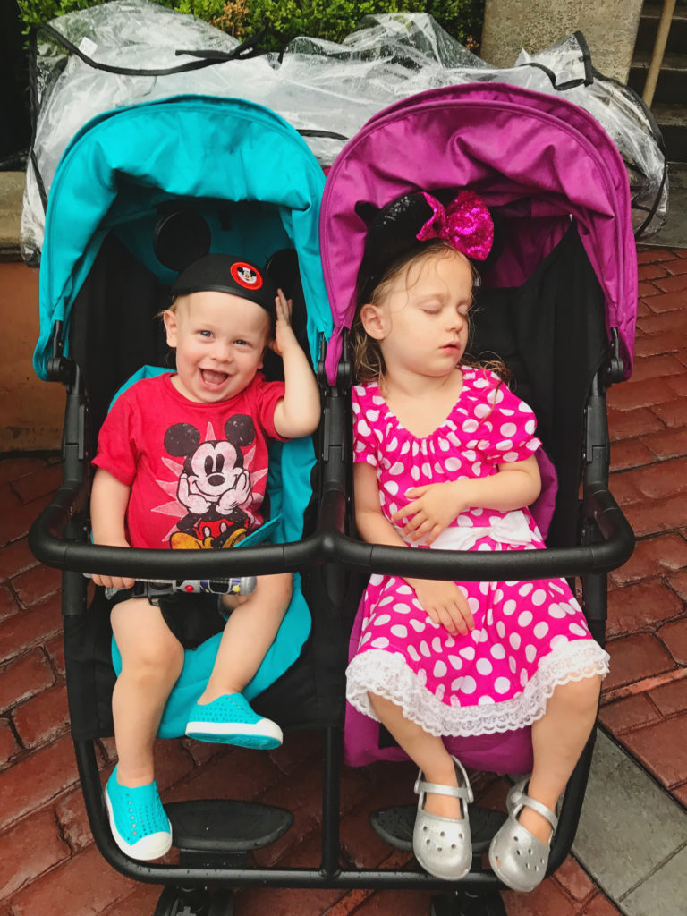chilling in the stroller while the big kids ride the Tower of Terror