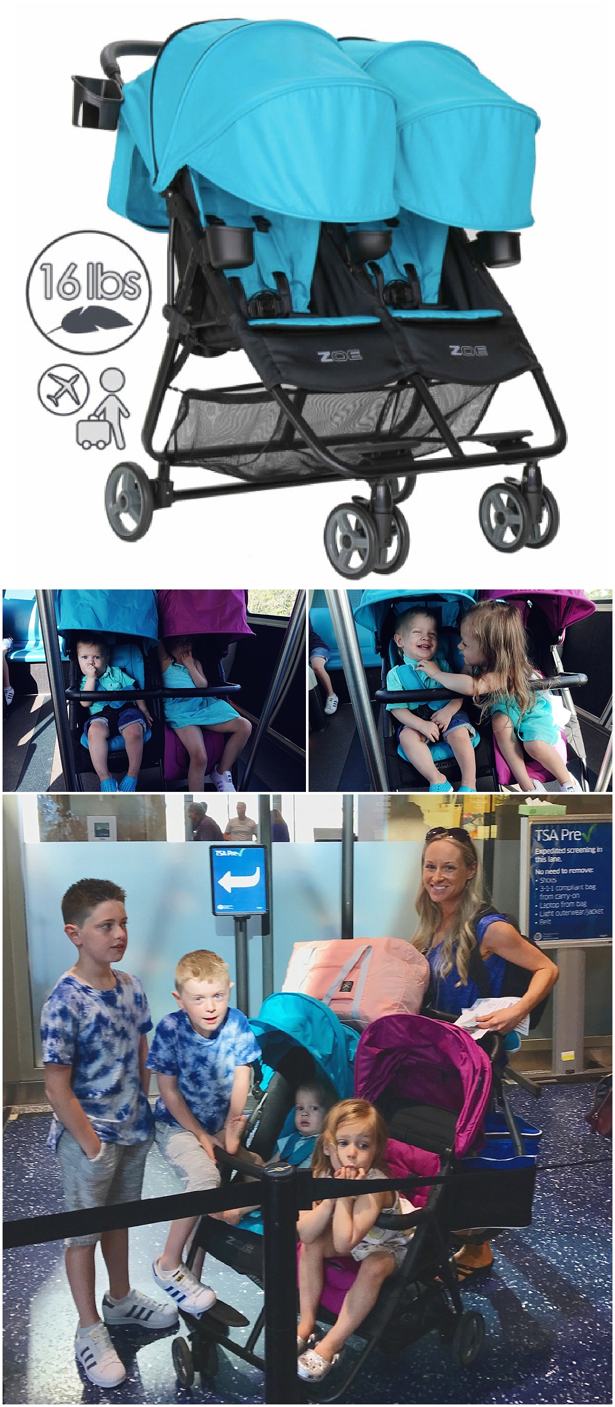 best lightweight travel double stroller Zoe
